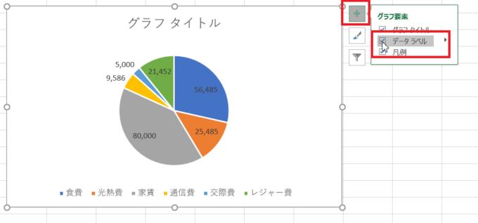 Excel2016で円グラフを使ったときのデータラベル設定