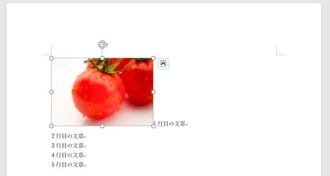 画像を挿入した直後は画像を選択してもアンカーは表示されない