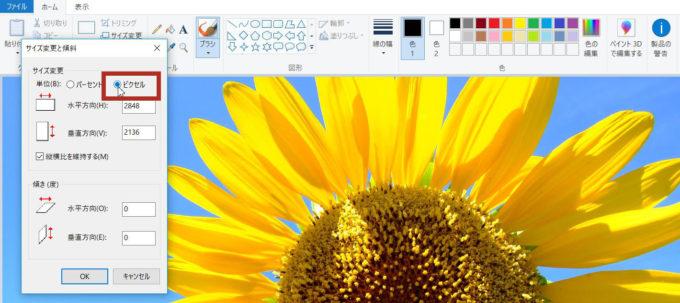 Windows10のペイントでサイズ変更するときは必ずピクセルに変更する