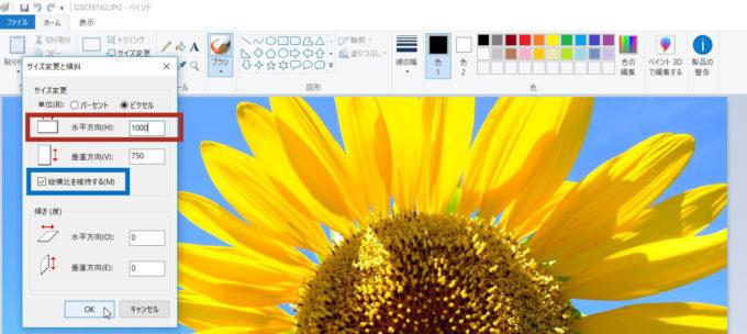 Windows10のペイントで写真のサイズを変更するときは「縦横比を固定する」にチェックを入れよう